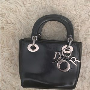 Lady Dior small patent leather bag with strap